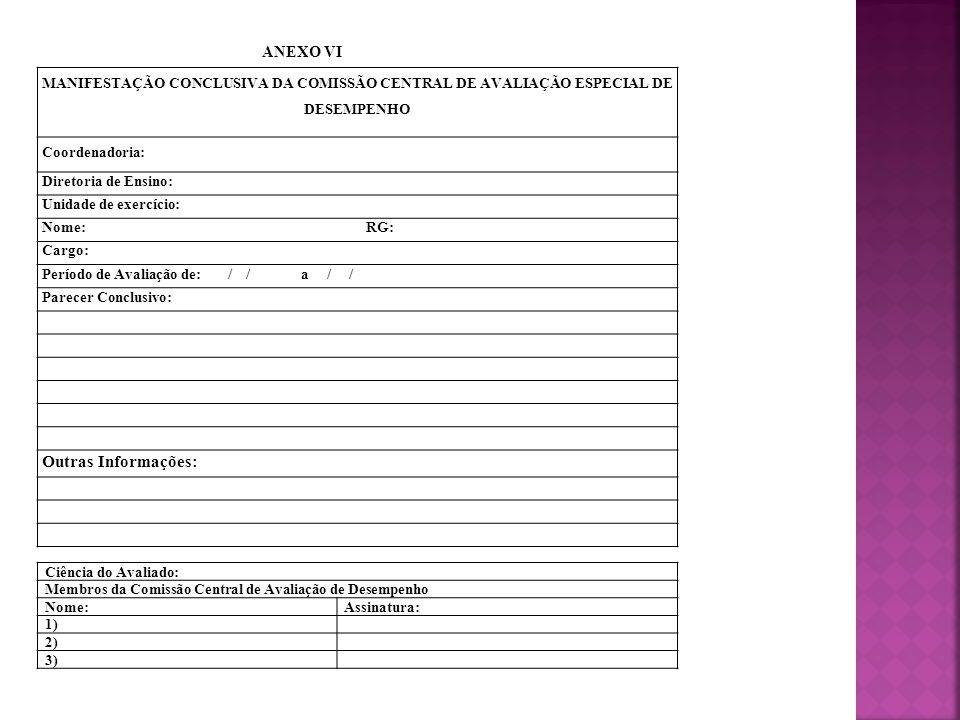 MANIFESTAÇÃO CONCLUSIVA DA COMISSÃO CENTRAL DE AVALIAÇÃO ESPECIAL DE DESEMPENHO Coordenadoria: Diretoria de Ensino: Unidade de exercício: Nome: RG: Ca
