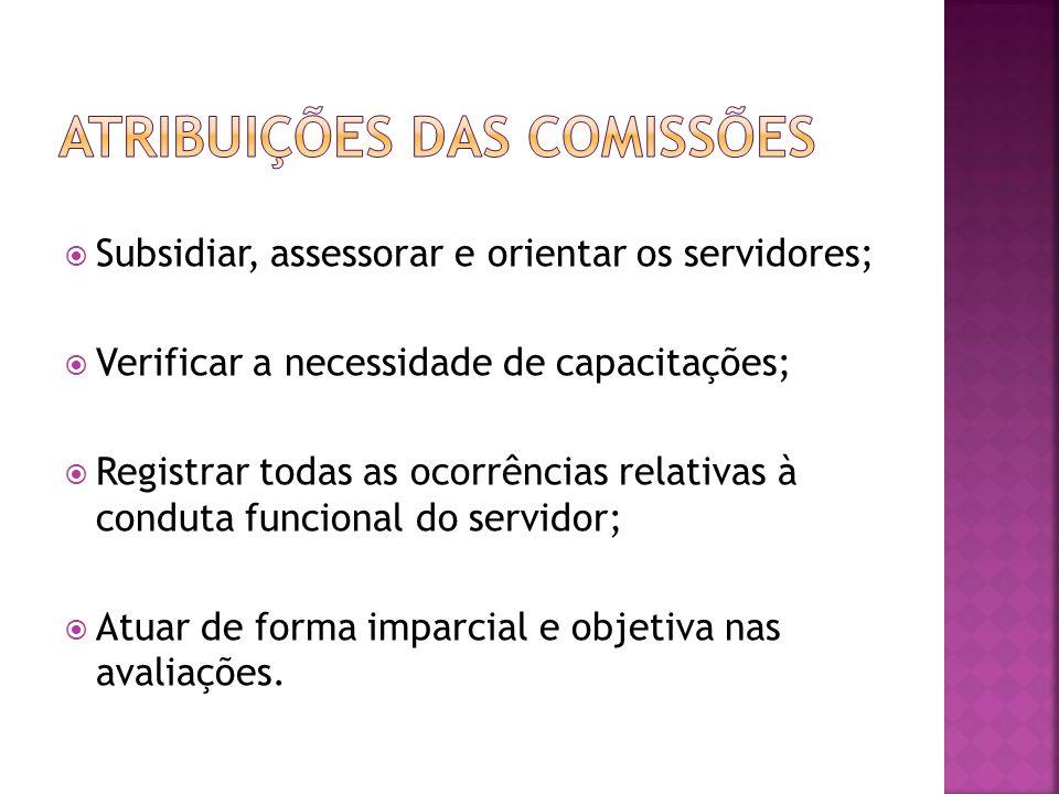 Subsidiar, assessorar e orientar os servidores; Verificar a necessidade de capacitações; Registrar todas as ocorrências relativas à conduta funcional