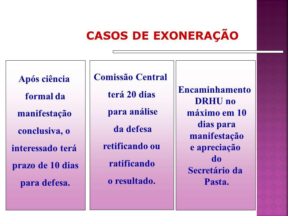CASOS DE EXONERAÇÃO Comissão Central terá 20 dias para análise da defesa retificando ou ratificando o resultado. Encaminhamento DRHU no máximo em 10 d
