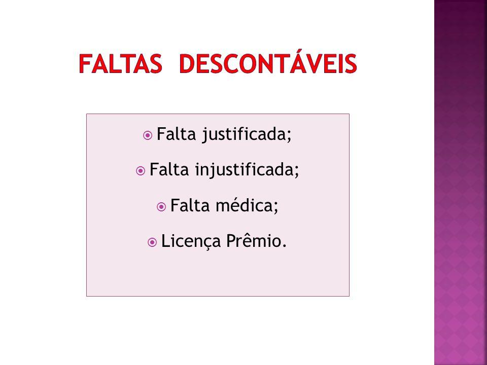Falta justificada; Falta injustificada; Falta médica; Licença Prêmio.