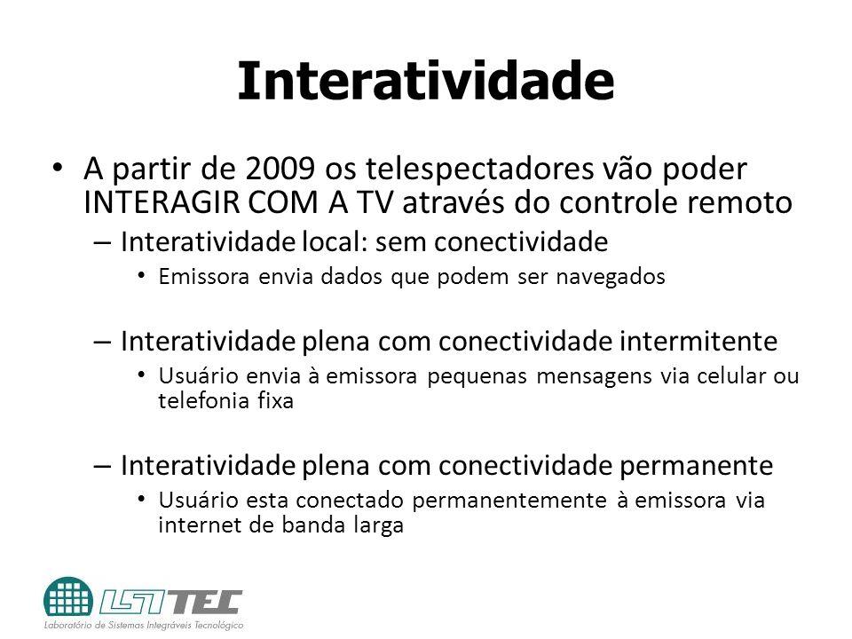 Interatividade A partir de 2009 os telespectadores vão poder INTERAGIR COM A TV através do controle remoto – Interatividade local: sem conectividade E