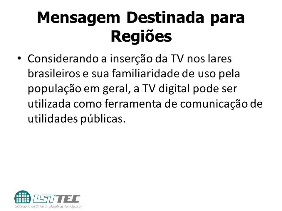 Mensagem Destinada para Regiões Considerando a inserção da TV nos lares brasileiros e sua familiaridade de uso pela população em geral, a TV digital p