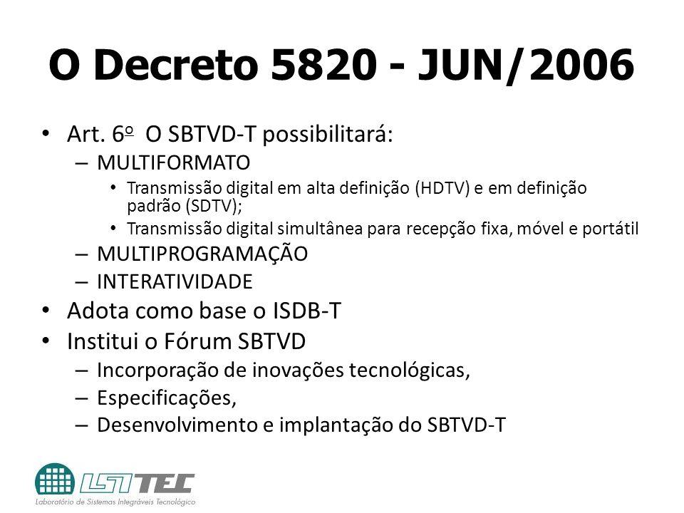 O Decreto 5820 - JUN/2006 Art. 6 o O SBTVD-T possibilitará: – MULTIFORMATO Transmissão digital em alta definição (HDTV) e em definição padrão (SDTV);