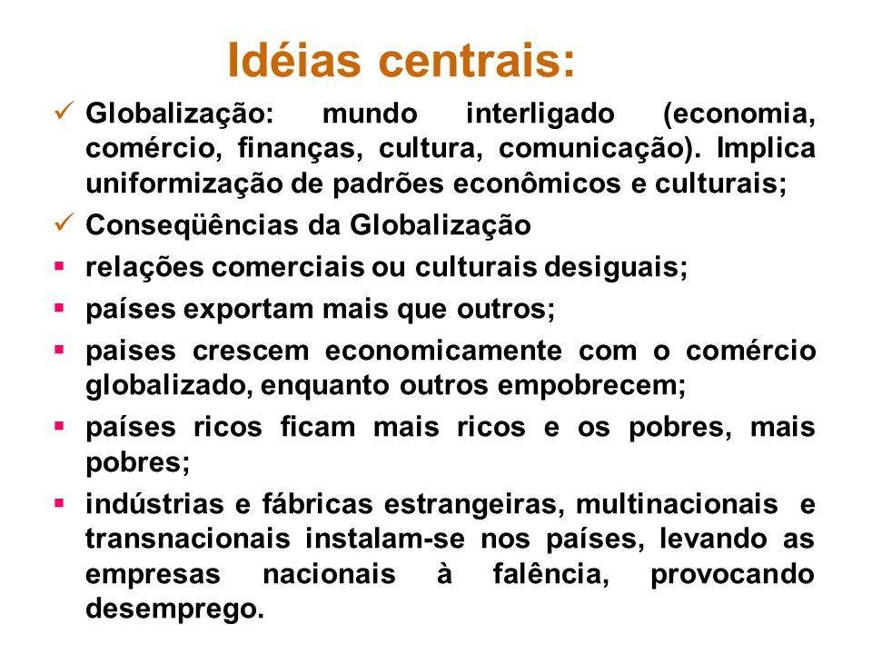 Idéias centrais: Globalização: mundo interligado (economia, comércio, finanças, cultura, comunicação). Implica uniformização de padrões econômicos e c