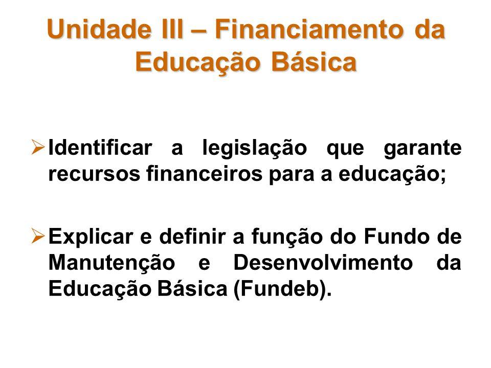 Unidade III – Financiamento da Educação Básica Identificar a legislação que garante recursos financeiros para a educação; Explicar e definir a função