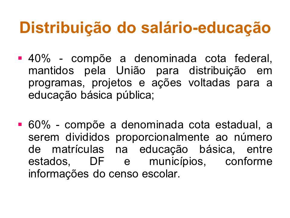 Distribuição do salário-educação 40% - compõe a denominada cota federal, mantidos pela União para distribuição em programas, projetos e ações voltadas