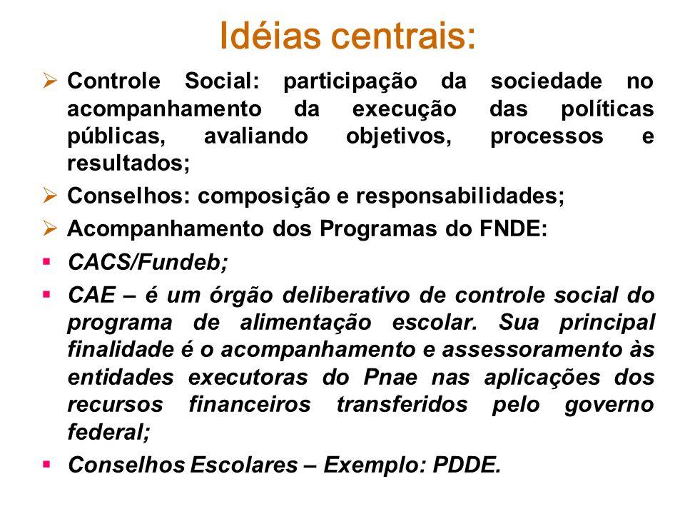 Controle Social: participação da sociedade no acompanhamento da execução das políticas públicas, avaliando objetivos, processos e resultados; Conselho
