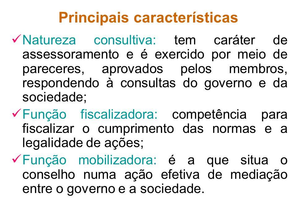 Principais características Natureza consultiva: tem caráter de assessoramento e é exercido por meio de pareceres, aprovados pelos membros, respondendo