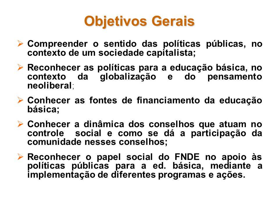 Objetivos Gerais Compreender o sentido das políticas públicas, no contexto de um sociedade capitalista; Reconhecer as políticas para a educação básica