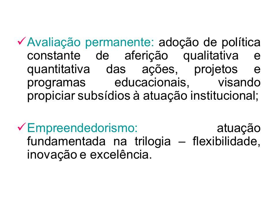 Avaliação permanente: adoção de política constante de aferição qualitativa e quantitativa das ações, projetos e programas educacionais, visando propic