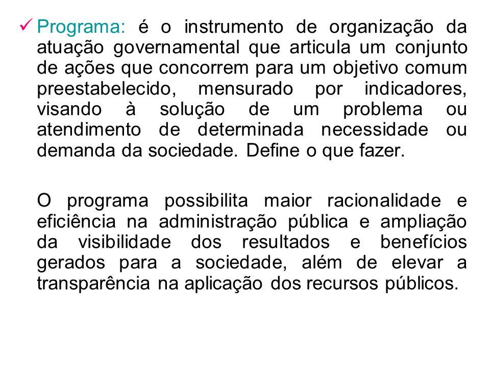 Programa: é o instrumento de organização da atuação governamental que articula um conjunto de ações que concorrem para um objetivo comum preestabeleci