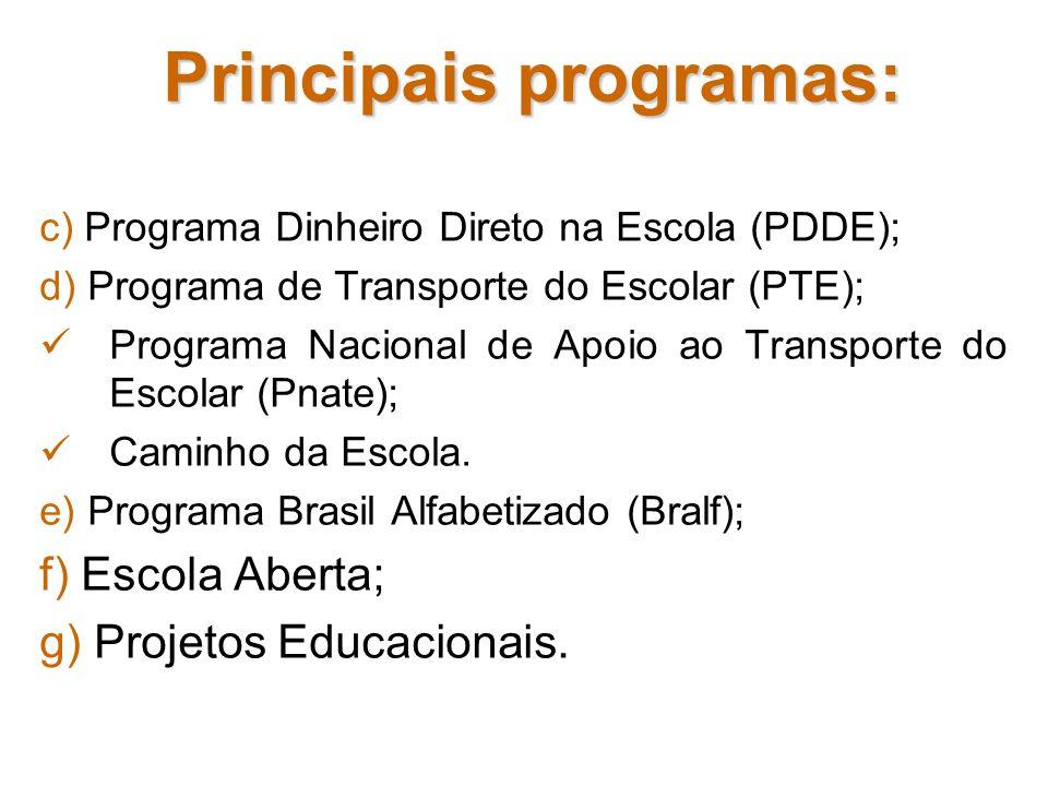 Principais programas: c) Programa Dinheiro Direto na Escola (PDDE); d) Programa de Transporte do Escolar (PTE); Programa Nacional de Apoio ao Transpor
