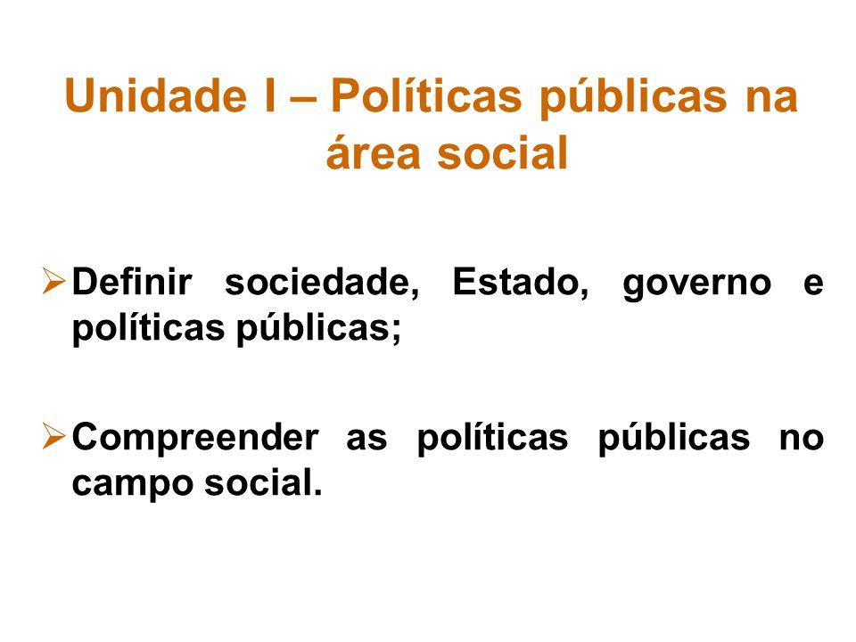 Unidade I – Políticas públicas na área social Definir sociedade, Estado, governo e políticas públicas; Compreender as políticas públicas no campo soci