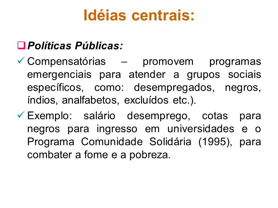 Idéias centrais: Políticas Públicas: Compensatórias – promovem programas emergenciais para atender a grupos sociais específicos, como: desempregados,