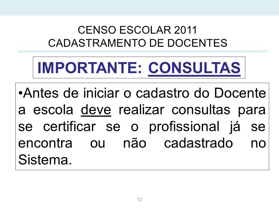 12 Antes de iniciar o cadastro do Docente a escola deve realizar consultas para se certificar se o profissional já se encontra ou não cadastrado no Sistema.