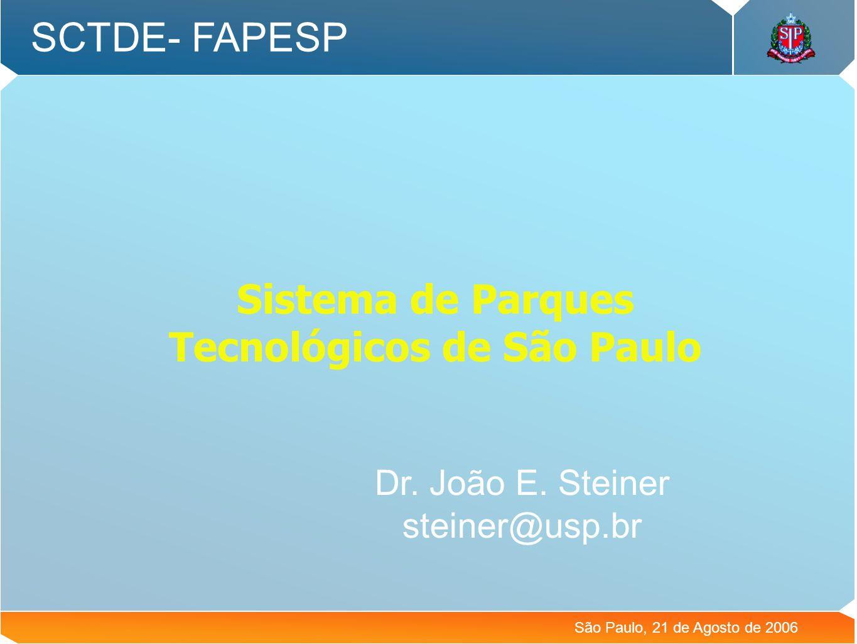 Sistema de Parques Tecnológicos de São Paulo SCTDE- FAPESP São Paulo, 21 de Agosto de 2006 Dr. João E. Steiner steiner@usp.br
