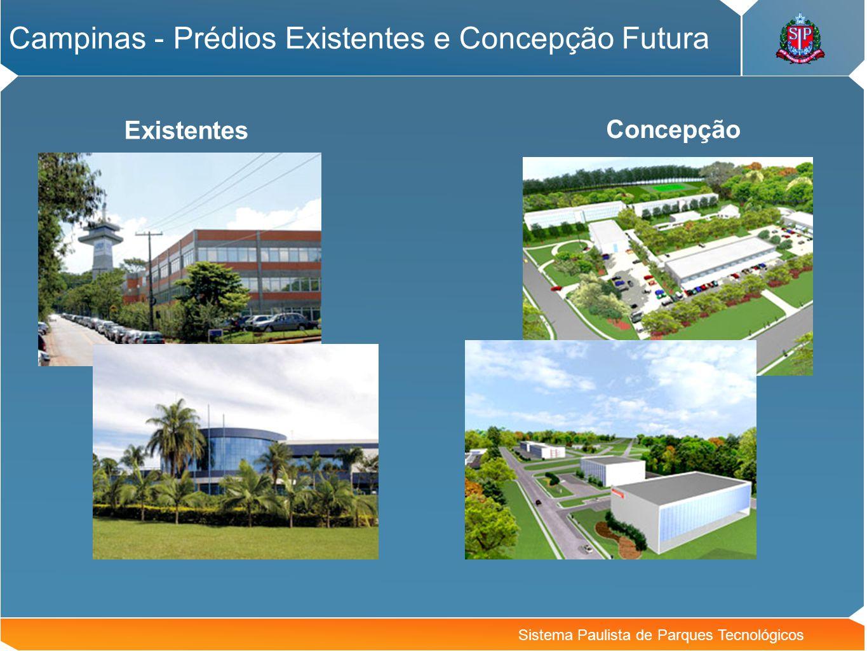 Sistema Paulista de Parques Tecnológicos Campinas - Prédios Existentes e Concepção Futura Concepção Existentes