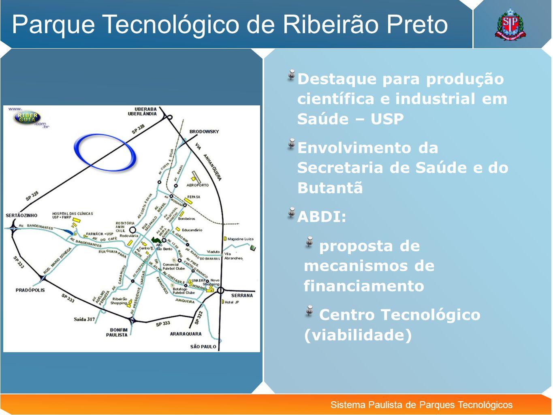 Sistema Paulista de Parques Tecnológicos Parque Tecnológico de Ribeirão Preto Destaque para produção científica e industrial em Saúde – USP Envolvimen
