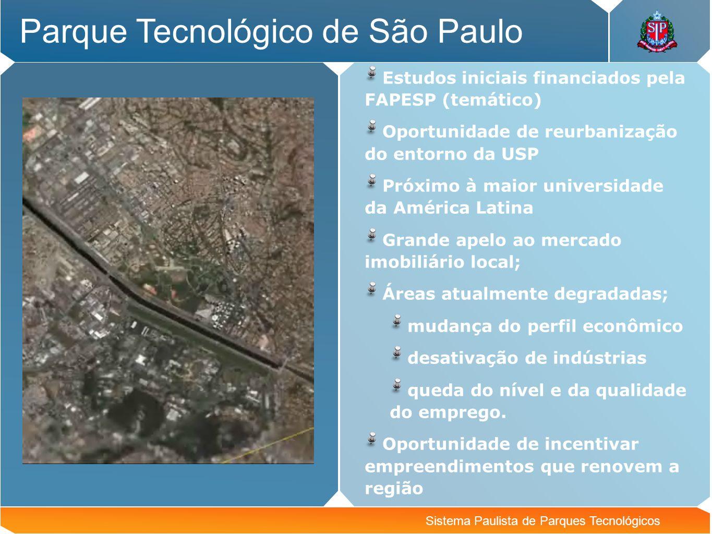 Sistema Paulista de Parques Tecnológicos Parque Tecnológico de São Paulo Estudos iniciais financiados pela FAPESP (temático) Oportunidade de reurbaniz