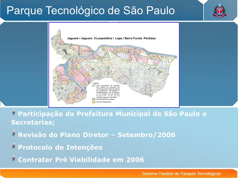 Sistema Paulista de Parques Tecnológicos Parque Tecnológico de São Paulo Participação da Prefeitura Municipal de São Paulo e Secretarias; Revisão do P