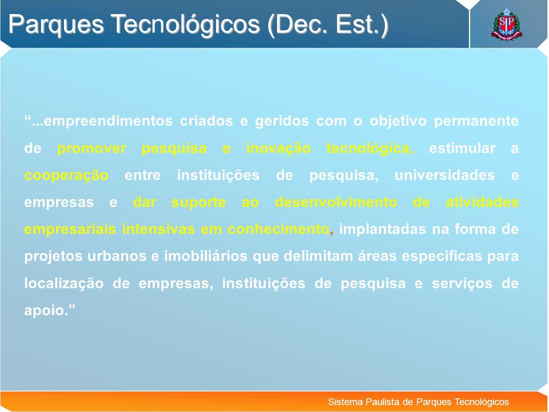 Sistema Paulista de Parques Tecnológicos Parque Tecnológico de Campinas Pré-viabilidade concluída (2002) diversos proprietários – modelo de negócio complexo Vetor de maior dinamismo Prefeitura de Campinas Revisão do plano diretor CIATEC – empresa municipal