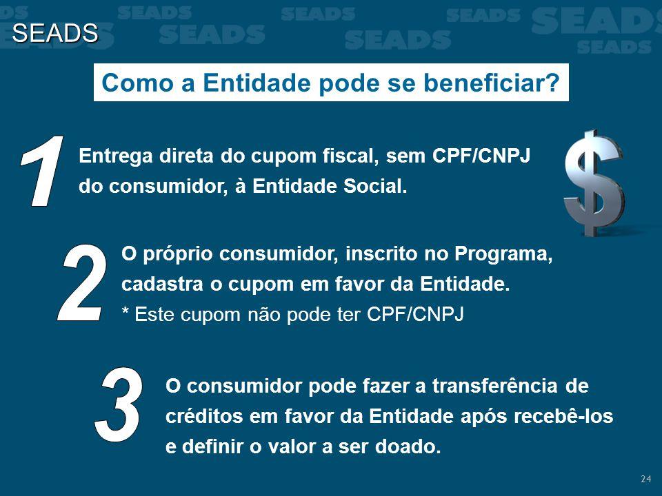 24 SEADS Como a Entidade pode se beneficiar? Entrega direta do cupom fiscal, sem CPF/CNPJ do consumidor, à Entidade Social. O próprio consumidor, insc