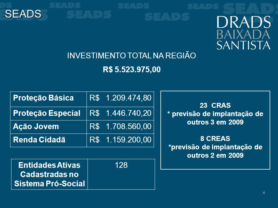 4 SEADS INVESTIMENTO TOTAL NA REGIÃO R$ 5.523.975,00 23 CRAS * previsão de implantação de outros 3 em 2009 8 CREAS *previsão de implantação de outros
