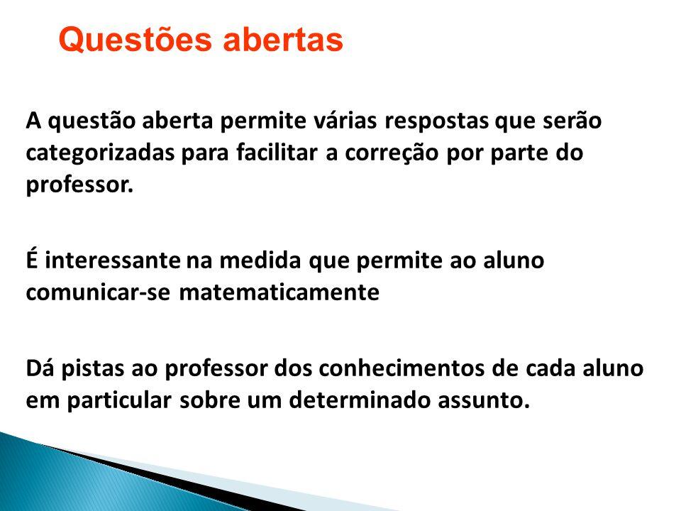 Questões abertas A questão aberta permite várias respostas que serão categorizadas para facilitar a correção por parte do professor.