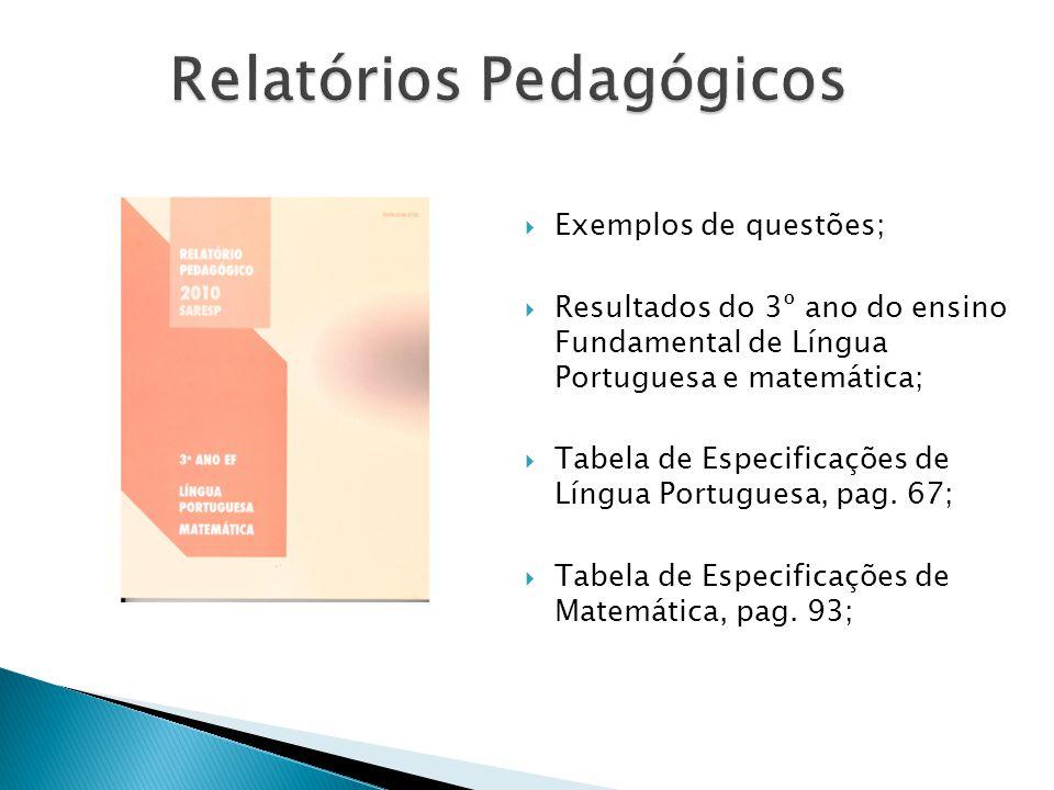 Relatórios Pedagógicos Exemplos de questões; Resultados do 3º ano do ensino Fundamental de Língua Portuguesa e matemática; Tabela de Especificações de Língua Portuguesa, pag.