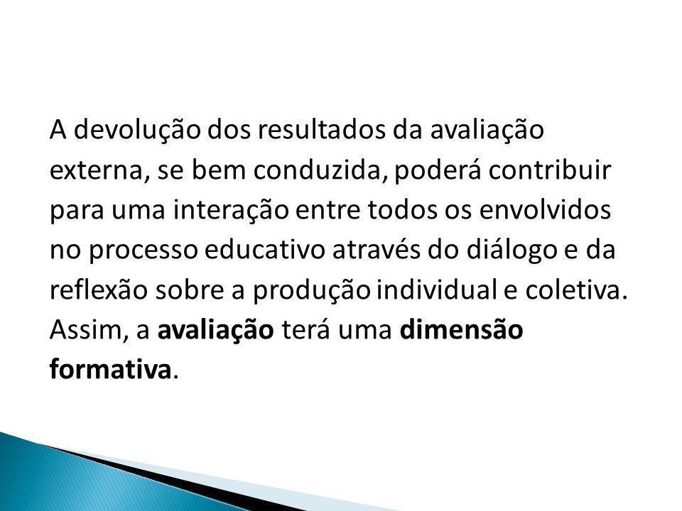 A devolução dos resultados da avaliação externa, se bem conduzida, poderá contribuir para uma interação entre todos os envolvidos no processo educativo através do diálogo e da reflexão sobre a produção individual e coletiva.