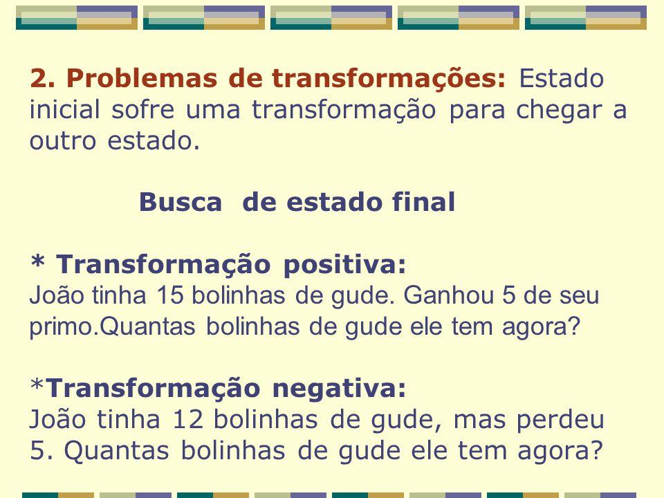 2. Problemas de transformações: Estado inicial sofre uma transformação para chegar a outro estado. Busca de estado final * Transformação positiva: Joã
