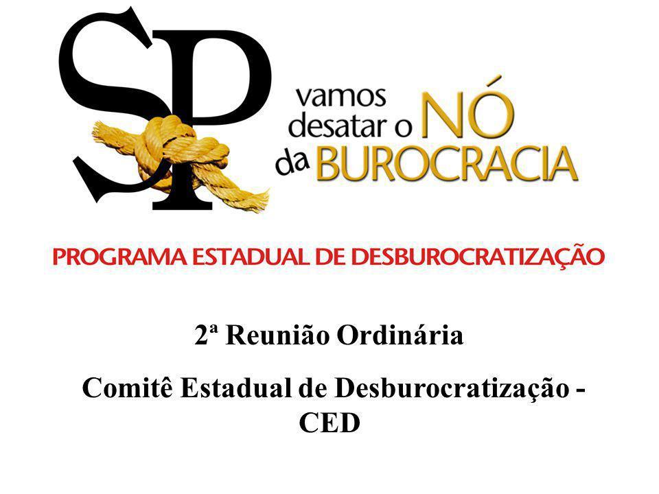 2ª Reunião Ordinária Comitê Estadual de Desburocratização - CED