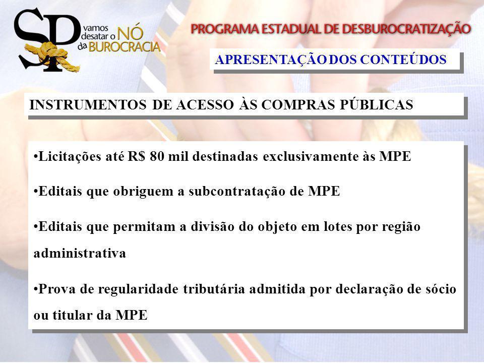 APRESENTAÇÃO DOS CONTEÚDOS INSTRUMENTOS DE ACESSO ÀS COMPRAS PÚBLICAS Licitações até R$ 80 mil destinadas exclusivamente às MPE Editais que obriguem a