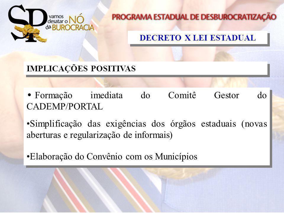 IMPLICAÇÕES POSITIVAS Formação imediata do Comitê Gestor do CADEMP/PORTAL Simplificação das exigências dos órgãos estaduais (novas aberturas e regular