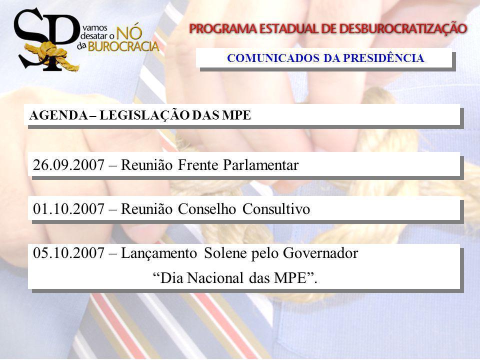 AGENDA – LEGISLAÇÃO DAS MPE 26.09.2007 – Reunião Frente Parlamentar 01.10.2007 – Reunião Conselho Consultivo 05.10.2007 – Lançamento Solene pelo Gover