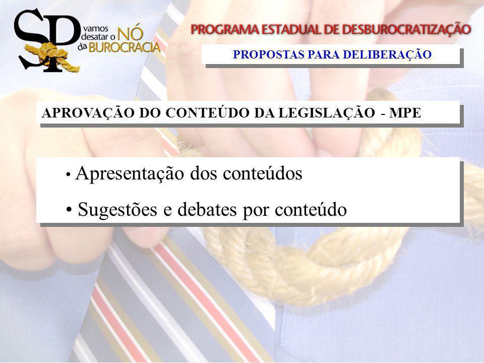 APROVAÇÃO DO CONTEÚDO DA LEGISLAÇÃO - MPE Apresentação dos conteúdos Sugestões e debates por conteúdo Apresentação dos conteúdos Sugestões e debates p