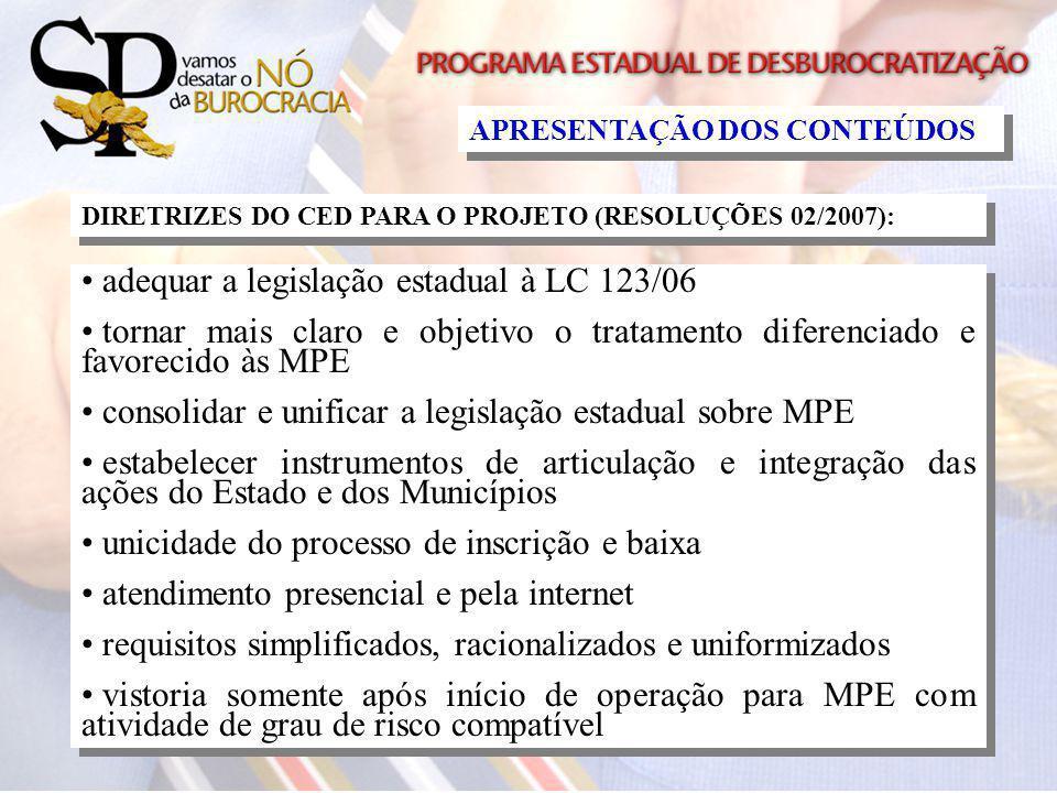 APRESENTAÇÃO DOS CONTEÚDOS adequar a legislação estadual à LC 123/06 tornar mais claro e objetivo o tratamento diferenciado e favorecido às MPE consol