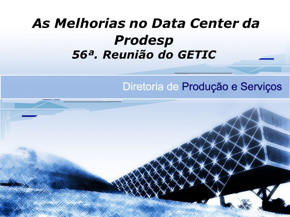 Dados do Data Center SLA –Previsto – 99,50% –Realizado 2005 - 99,79% 2006 - 99,88% 2007 - 99,60% 2008 - 99,88% 2009 - 99,17%