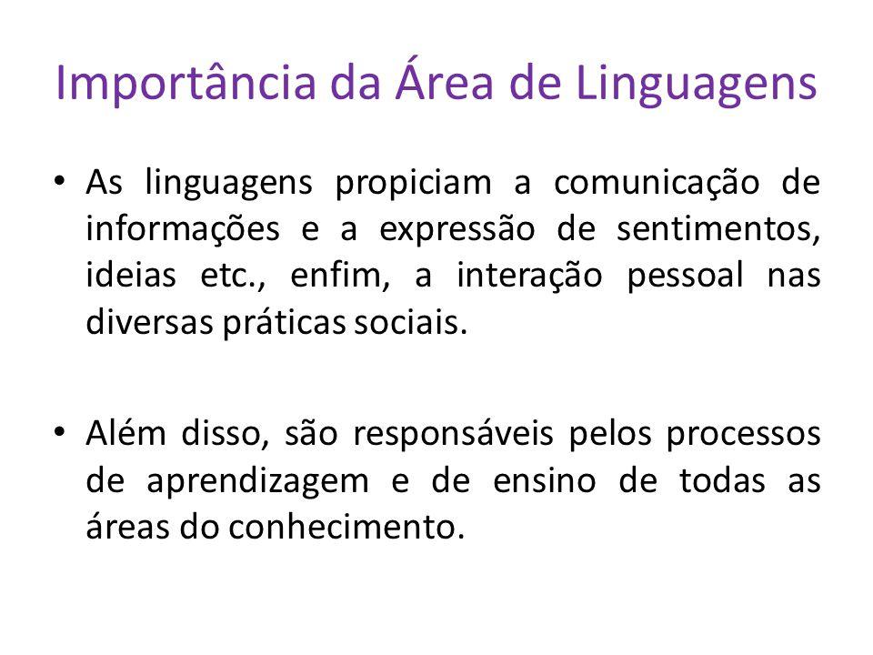 Importância da Área de Linguagens As linguagens propiciam a comunicação de informações e a expressão de sentimentos, ideias etc., enfim, a interação pessoal nas diversas práticas sociais.