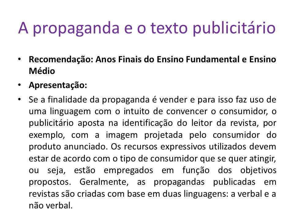 A propaganda e o texto publicitário Recomendação: Anos Finais do Ensino Fundamental e Ensino Médio Apresentação: Se a finalidade da propaganda é vende