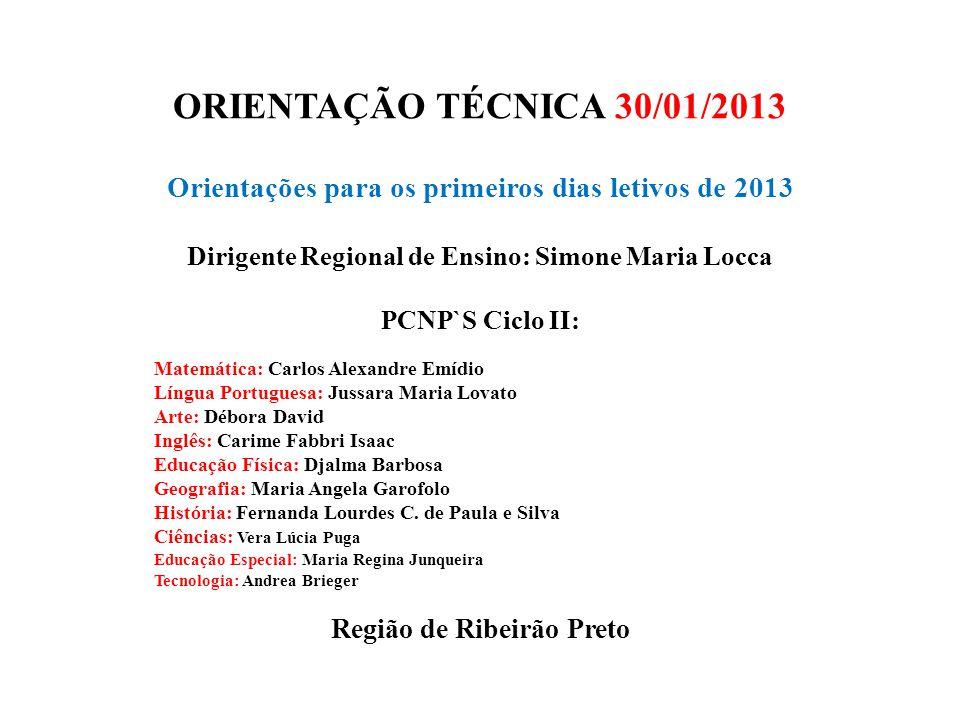 ORIENTAÇÃO TÉCNICA 30/01/2013 Orientações para os primeiros dias letivos de 2013 Dirigente Regional de Ensino: Simone Maria Locca PCNP`S Ciclo II: Mat