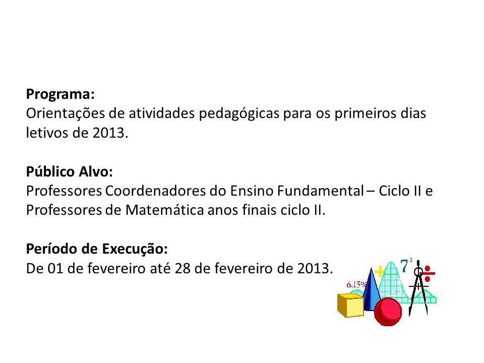 Programa: Orientações de atividades pedagógicas para os primeiros dias letivos de 2013. Público Alvo: Professores Coordenadores do Ensino Fundamental