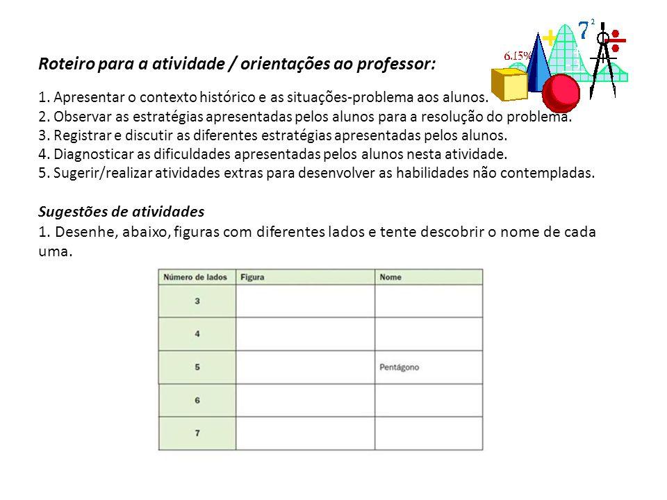 Roteiro para a atividade / orientações ao professor: 1. Apresentar o contexto histórico e as situações-problema aos alunos. 2. Observar as estratégias