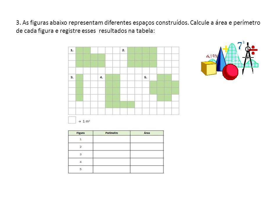 3. As figuras abaixo representam diferentes espaços construídos. Calcule a área e perímetro de cada figura e registre esses resultados na tabela: