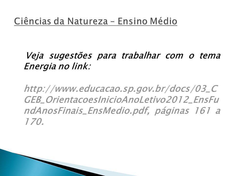 Veja sugestões para trabalhar com o tema Energia no link: http://www.educacao.sp.gov.br/docs/03_C GEB_OrientacoesInicioAnoLetivo2012_EnsFu ndAnosFinai