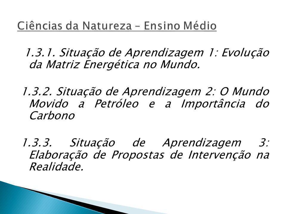 1.3.1. Situação de Aprendizagem 1: Evolução da Matriz Energética no Mundo. 1.3.2. Situação de Aprendizagem 2: O Mundo Movido a Petróleo e a Importânci