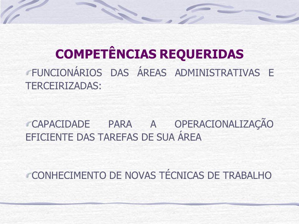 COMPETÊNCIAS REQUERIDAS FUNCIONÁRIOS DAS ÁREAS ADMINISTRATIVAS E TERCEIRIZADAS: CAPACIDADE PARA A OPERACIONALIZAÇÃO EFICIENTE DAS TAREFAS DE SUA ÁREA CONHECIMENTO DE NOVAS TÉCNICAS DE TRABALHO