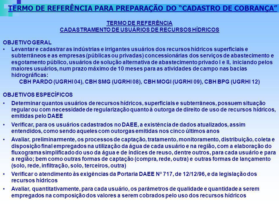 TERMO DE REFERÊNCIA PARA PREPARAÇÃO DO CADASTRO DE COBRANÇA TERMO DE REFERÊNCIA CADASTRAMENTO DE USUÁRIOS DE RECURSOS HÍDRICOS OBJETIVO GERAL Levantar
