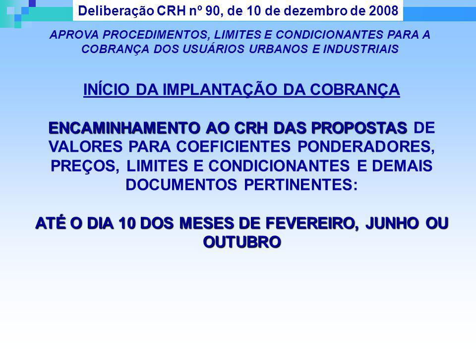 Deliberação CRH nº 90, de 10 de dezembro de 2008 APROVA PROCEDIMENTOS, LIMITES E CONDICIONANTES PARA A COBRANÇA DOS USUÁRIOS URBANOS E INDUSTRIAIS INÍ