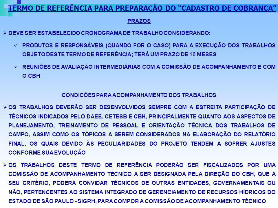 PRAZOS DEVE SER ESTABELECIDO CRONOGRAMA DE TRABALHO CONSIDERANDO: PRODUTOS E RESPONSÁVEIS (QUANDO FOR O CASO) PARA A EXECUÇÃO DOS TRABALHOS OBJETO DES